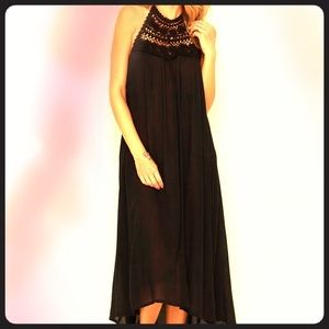 Billabong crochet halter maxi dress
